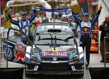 Britain Rallying - Wales Rally GB - FIA World Rally Championship - Wales - 30/10/16 Volkswagen Motorsport's Sebastien Ogier and Julien Ingrassia (L) celebrate victory Mandatory Credit: Action Images / Peter Cziborra Livepic