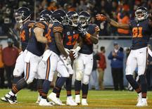 Oct 31, 2016; Chicago, IL, USA; Chicago Bears wide receiver Alshon Jeffery (17) celebrates with teammates after scoring a touchdown against the Minnesota Vikings during the second half at Soldier Field. Mandatory Credit: Kamil Krzaczynski-USA TODAY Sports