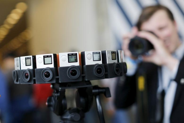 A GoPro device featuring 16 cameras, to be used with Google's ''Jump,'' to provide viewers with 360-degree video, is shown during the Google I/O developers conference in San Francisco, California May 28, 2015. REUTERS/Robert Galbraith/File Photo
