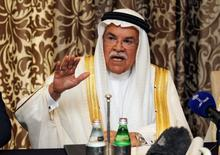 Saudi Arabia's Oil Minister Ali al-Naimi gestures as he attends a news conference in Doha, Qatar February 16, 2016.  REUTERS/Naseem Zeitoon/File Photo