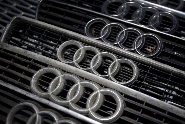 Audi hood masks are seen in Jelah, Bosnia and Herzegovina, in this September 29, 2015 file picture illustration. REUTERS/Dado Ruvic/Files