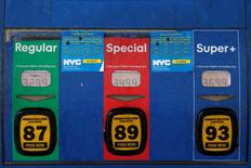 Gas prices are displayed on a pump at a Mobil gas station in the Brooklyn borough of New York, U.S., February 3, 2016.      REUTERS/Brendan McDermid/File Photo