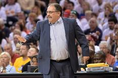 Apr 17, 2016; Cleveland, OH, USA; Detroit Pistons head coach Stan Van Gundy reacts during the first quarter in game one of the first round of the NBA Playoffs at Quicken Loans Arena. Mandatory Credit: Ken Blaze-USA TODAY Sports