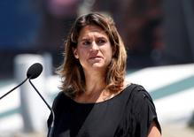 Amelie Mauresmo of France talks about the attacks in Paris and Nice during her enshrinement ceremony at the International Tennis Hall of Fame in Newport, Rhode Island, U.S. July 16, 2016.    REUTERS/Mary Schwalm - RTSIBJW