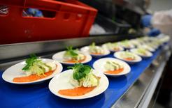 Meals for Lufthansa's first class passengers are prepared by employees of LSG Group, Lufthansa's airline catering division, at the LSG headquarters in Frankfurt, Germany, November 11, 2016. REUTERS/Kai Pfaffenbach