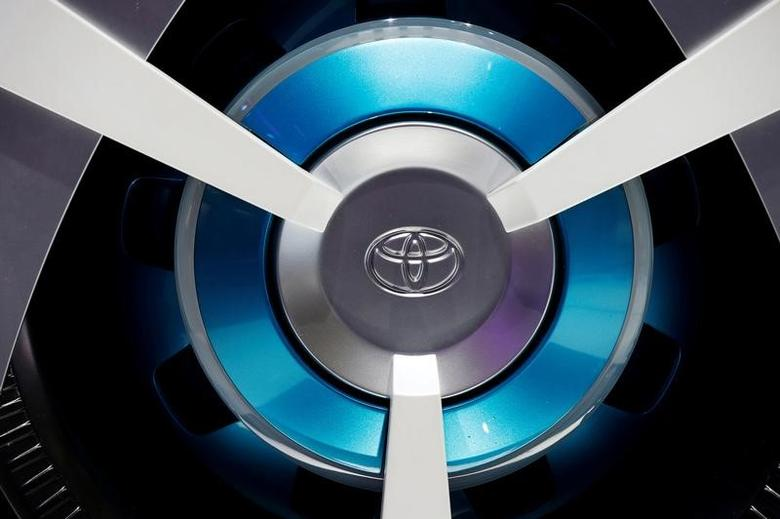 View of a Toyota logo on a wheel at the Mondial de l'Automobile, Paris auto show, during media day in Paris, France, September 30, 2016. REUTERS/Jacky Naegelen/File Photo