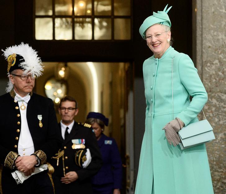 Queen Margrethe of Denmark arrives for the Te Deum thanksgiving service in the Royal Chapel during King Carl XVI Gustaf of Sweden's 70th birthday celebrations in Stockholm, Sweden, April 30, 2016. TT News Agency/Maja Suslin/via REUTERS/Files