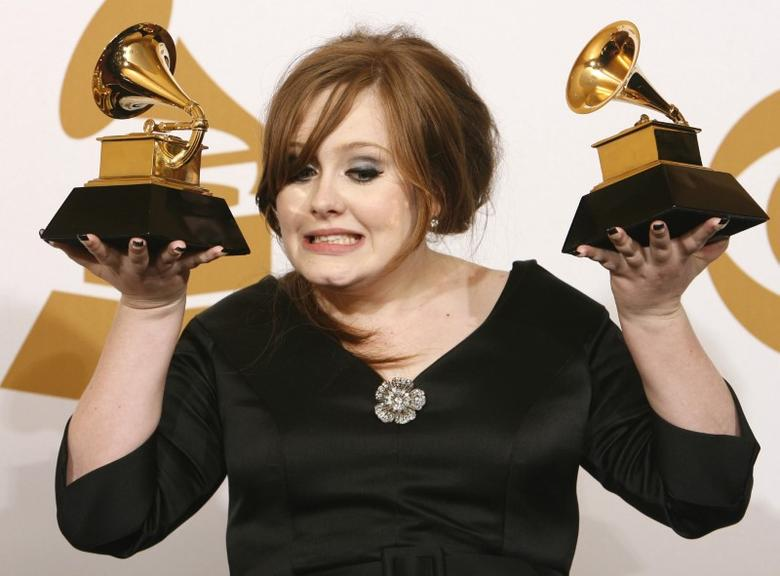 Adele holds her awards for Best New Artist and Best Pop Vocal Album for ''Chasing Pavements'' while backstage at the 51st annual Grammy Awards in Los Angeles February 8, 2009.     REUTERS/Mario Anzuoni
