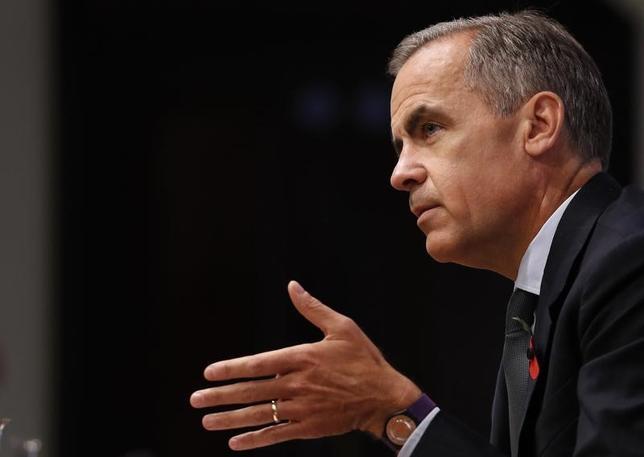 11月30日、イングランド銀行(英中央銀行)のカーニー総裁(写真)は英国の欧州連合(EU)離脱について、国内企業の不透明感を和らげる必要があるとの見解を示した。写真は3日代表撮影(2016年 ロイター)