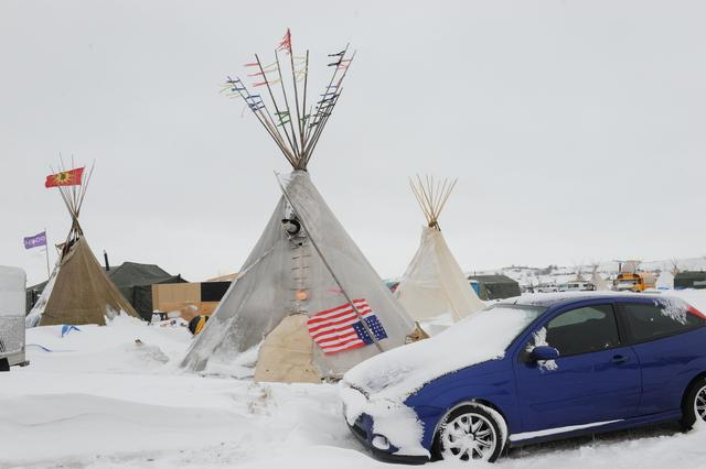 A tipi is seen in the Oceti Sakowin camp during a protest against plans to pass the Dakota Access pipeline near the Standing Rock Indian Reservation, near Cannon Ball, North Dakota, U.S., November 30, 2016. REUTERS/Stephanie Keith