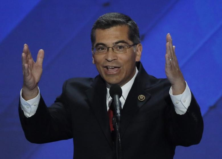 U.S. Representative Xavier Becerra (D-CA) speaks on the final night of the Democratic National Convention in Philadelphia, Pennsylvania, U.S. July 28, 2016. REUTERS/Mike Segar