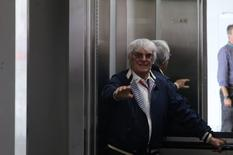 Formula One - F1 - Brazilian Grand Prix - Circuit of Interlagos, Sao Paulo, Brazil - 13/11/2016 - Bernie Ecclestone, Chief Executive of the Formula One Group, rides in an elevator during the race. REUTERS/Nacho Doce - RTX2TGT7