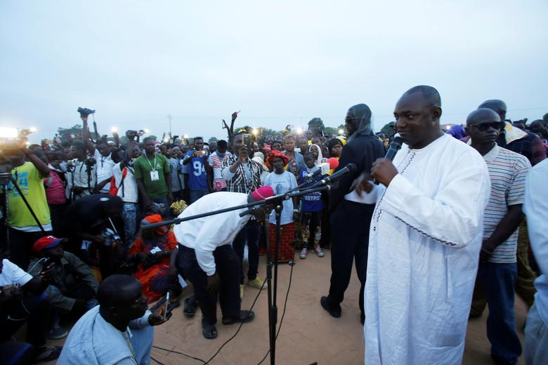 The United Democratic Party (UDP), opposition alliance  presidential candidate Adama Barrow speaks during a rally in Buffer zone, Gambia November 29, 2016.  REUTERS/Thierry Gouegnon