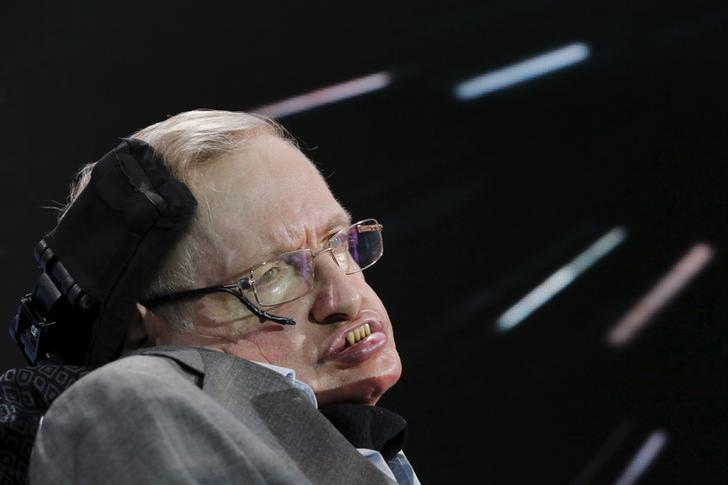 Physicist Stephen Hawking sits on stage during an announcement of the Breakthrough Starshot initiative with investor Yuri Milner in New York April 12, 2016. REUTERS/Lucas Jackson/Files