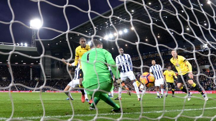 Britain Football Soccer - West Bromwich Albion v Watford - Premier League - The Hawthorns - 3/12/16 Watford's Christian Kabasele scores their first goal  Reuters / Anthony Devlin Livepic