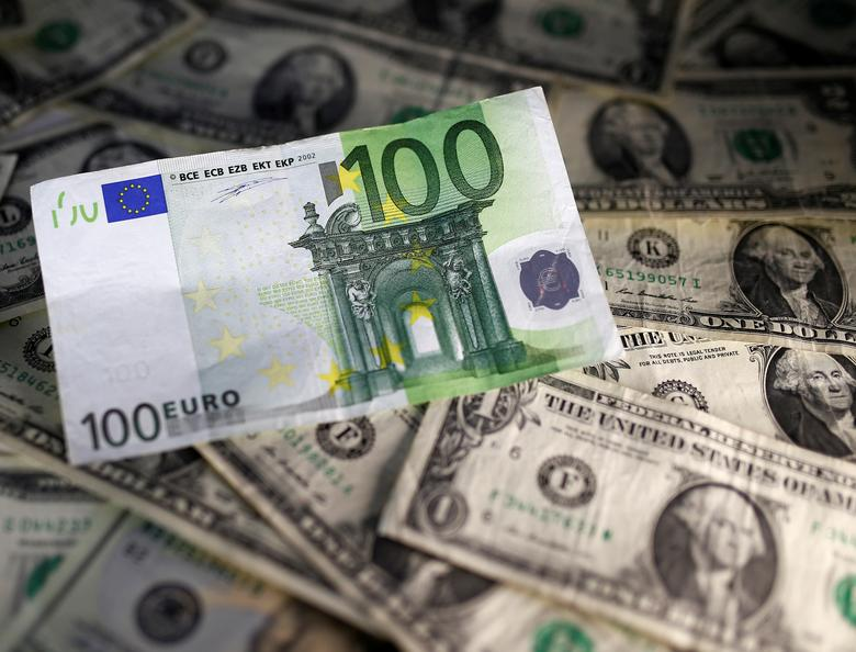 U.S. dollar and Euro notes are seen in this November 7, 2016 picture illustration. REUTERS/Dado Ruvic/Illustration