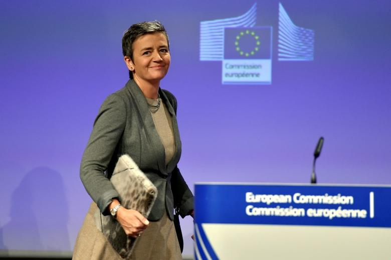 European Commissioner for Violation of EU Treaties Margrethe Vestager reacts during a news conference on the approval of the Hutchison-Vimpelcom deal at the European Commission in Brussels, Belgium September 1, 2016. REUTERS/Eric Vidal