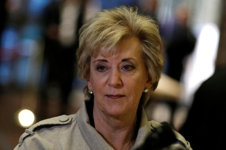 Linda McMahon speaks to members of the news media after meeting with U.S. President-elect Donald Trump at Trump Tower in New York, U.S., November 30, 2016.   REUTERS/Mike Segar