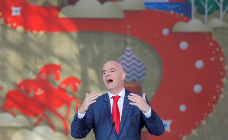 FIFA President Gianni Infantino delivers a speech during the launching ceremony of the 2018 World Cup and 2017 Confederations Cup volunteer campaign in Moscow, Russia, June 1, 2016. REUTERS/Maxim Shemetov