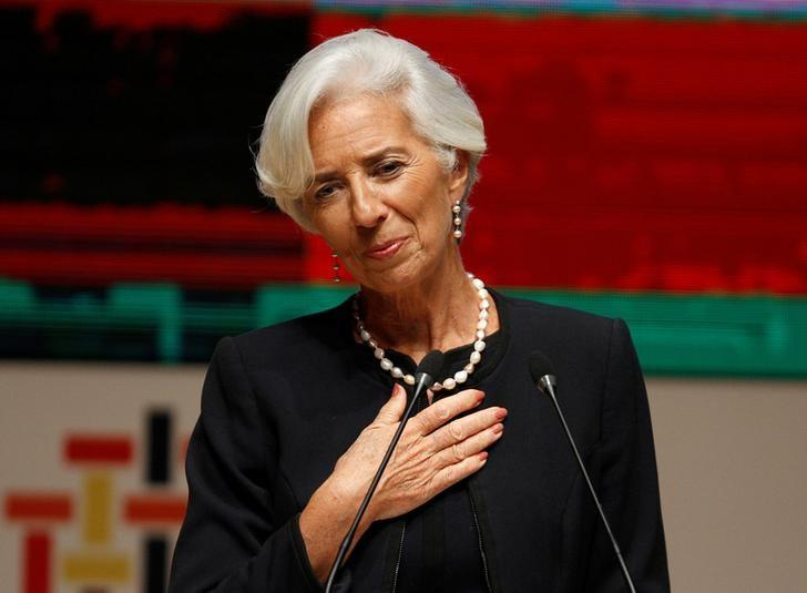 Managing Director of the International Monetary Fund (IMF) Christine Lagarde addresses the audience at the 2016 APEC (Asia Pacific Economic Cooperation) CEO summit in Lima, Peru November 18, 2016.    REUTERS/Paco Chuquiure/Files