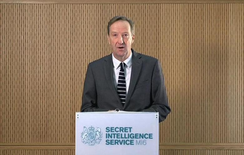 MI6 chief Alex Younger speaks at MI6's Vauxhall Cross headquarters in central London, in this still image from video, Britain December 8, 2016.  Crown Copyright/Handout via REUTERS