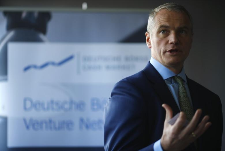 Carsten Kengeter, CEO of Deutsche Boerse talks to the media during the presentation of FinTec start-up facilities provided by Deutsche Boerse in Frankfurt, Germany, February 24, 2016. REUTERS/Kai Pfaffenbach