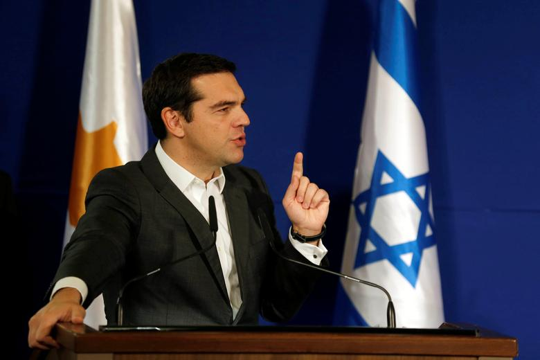 Greek Prime Minister Alexis Tsipras speaks during a signing ceremony of a trilateral agrement together with Israel and Cyprus in Jerusalem December 8, 2016. REUTERS/Amir Cohen