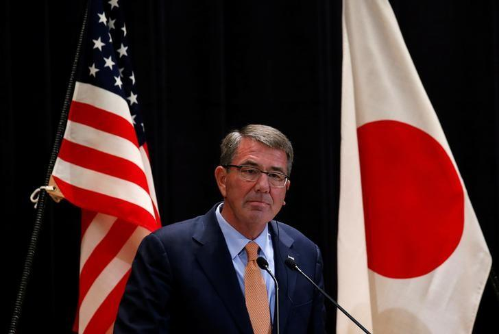 U.S. Defense Secretary Ash Carter attends a joint news conference with Japan's Defense Minister Tomomi Inada  after their meeting at the Defense Ministry in Tokyo, Japan, December 7, 2016. REUTERS/Toru Hanai