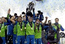 Dec 10, 2016; Toronto, Canada; The Seattle Sounders celebrates with Philip F. Anschutz Trophy after beating Toronto FC in the 2016 MLS Cup at BMO Field. Mandatory Credit: Nick Turchiaro-USA TODAY Sports
