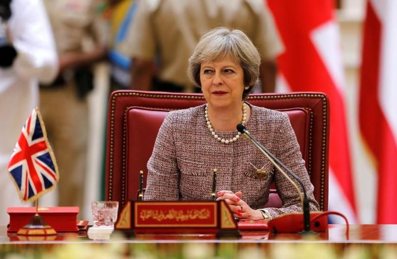 British Prime Minister Theresa May attends the first Gulf Cooporative Council's (GCC) '' GCC British Summit'', in Sakhir Palace Bahrain, December 7, 2016. REUTERS/Hamad I Mohammed