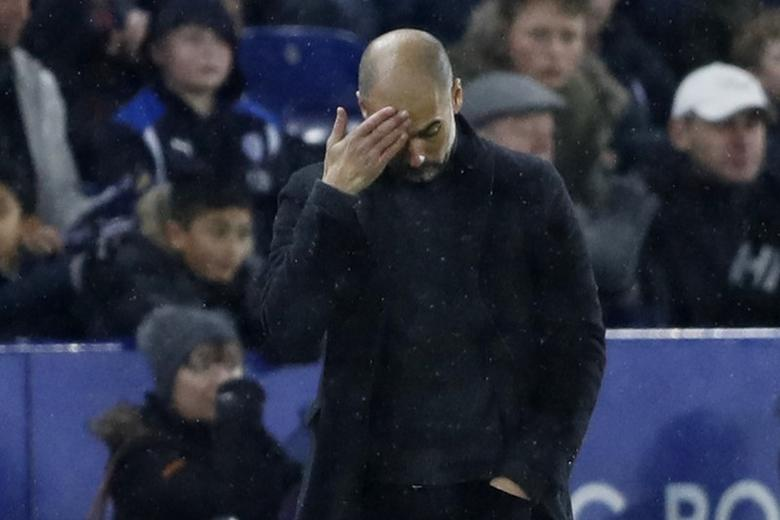 Manchester City manager Pep Guardiola looks dejected. Leicester City v Manchester City - Premier League - King Power Stadium - 10/12/16. Action Images via Reuters / Carl Recine Livepic