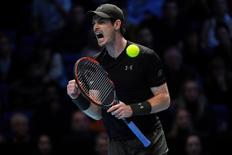 Tennis Britain - Barclays ATP World Tour Finals - O2 Arena, London - 20/11/16 Great Britain's Andy Murray celebrates during the final against Serbia's Novak Djokovic Reuters / Toby Melville