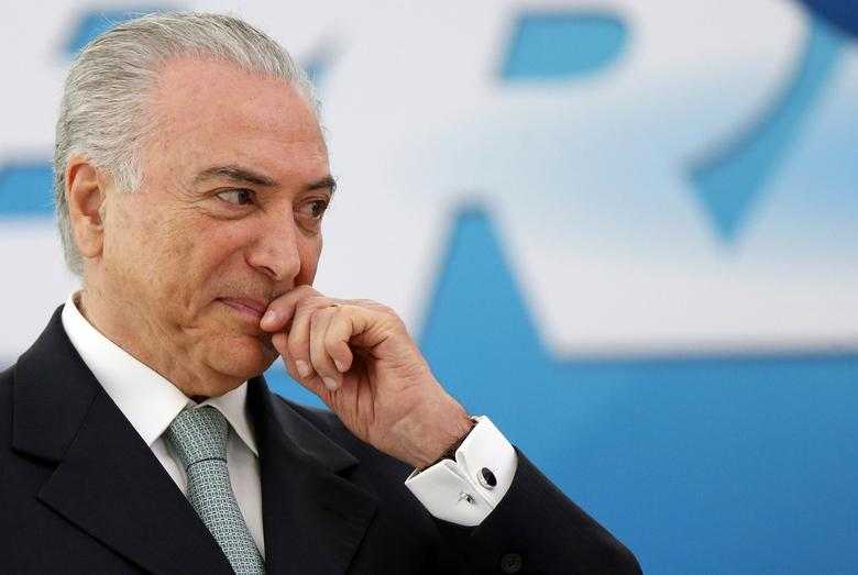 Brazil's President Michel Temer reacts during a ceremony at Planalto Palace in Brasilia, Brazil December 7, 2016. REUTERS/Adriano Machado