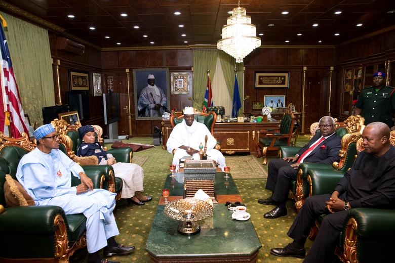 Gambian President Yahya Jammeh attends a meeting with a delegation of West African leaders during the election crisis mediation at the presidential palace in Banjul, Gambia December 13, 2016. REUTERS/Stringer