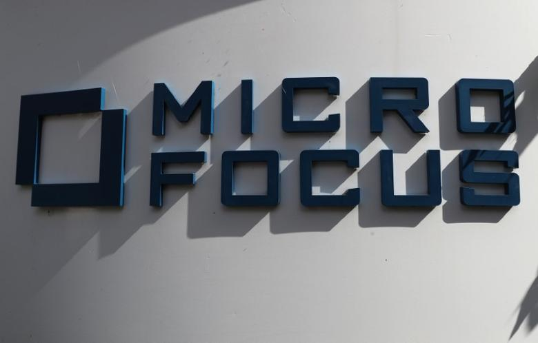 A sign stands outside the offices of Micro Focus in Newbury, Britain, September 8, 2016. REUTERS/Eddie Keogh