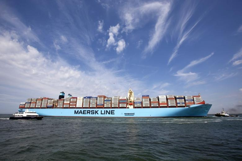 FILE PHOTO - The MV Maersk Mc-Kinney Moller, the world's biggest container ship, arrives at the harbour of Rotterdam August 16, 2013. REUTERS/Michael Kooren