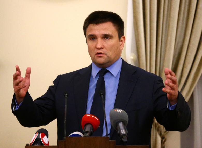 Ukrainian Foreign Minister Pavlo Klimkin speaks during a news briefing after the talks on the crisis in eastern Ukraine in Minsk, Belarus, November 29, 2016. REUTERS/Vasily Fedosenko