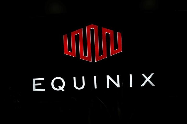 The logo of Equinix is pictured at the entrance of a data center in Pantin, outside Paris, France, December 7, 2016.  REUTERS/Benoit Tessier