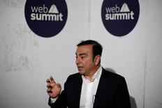 Carlos Ghosn, CEO of Renault-Nissan being interviewed during Web Summit, in Lisbon, Portugal November 8, 2016. REUTERS/Pedro Nunes