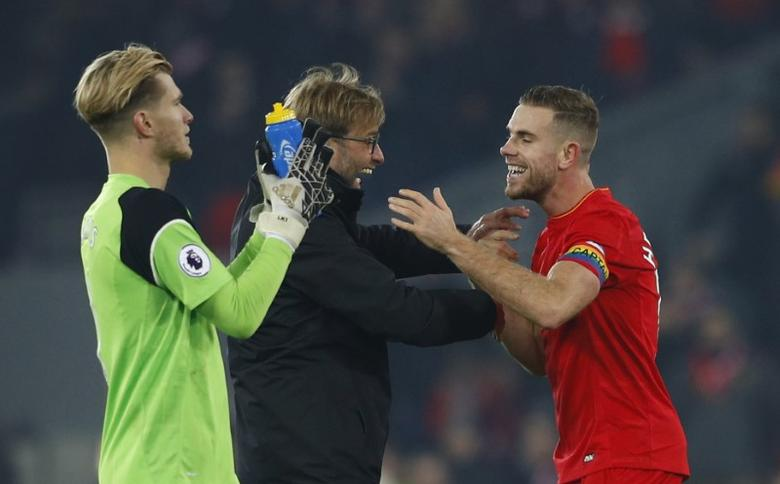 Liverpool manager Juergen Klopp celebrates after the game with Jordan. Liverpool v Sunderland - Premier League - Anfield - 26/11/16.  Henderson Reuters / Phil Noble Livepic