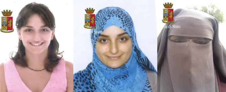 Maria Giulia Sergio, an Italian women who travelled to Syria two years ago proclaiming her support for the Islamic State and known by her alias Fatima Az-Zahra, is seen in these undated photos released by Italian Police. Polizia di Stato Press Office/Handout via REUTERS