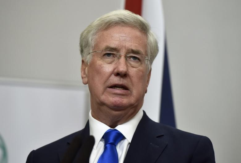 Britain's Defence Secretary Michael Fallon attends a press conference with U.S. Secretary of Defence Ash Carter at the Foreign Office in London, December 15, 2016. REUTERS/Hannah McKay