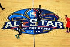 Eastern Conference guard Kyrie Irving (2) of the Cleveland Cavaliers brings the ball up court during the 2014 NBA All-Star Game in New Orleans, Louisiana, February 16, 2014. Mandatory Credit: Bob Donnan-USA TODAY Sports/File Photo