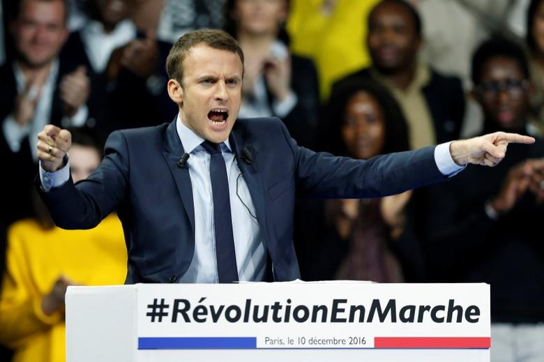 Emmanuel Macron, head of the political movement En Marche !, or Forward !, and candidate for the 2017 French presidential election, attends a political rally in Paris, France December 10, 2016. REUTERS/Benoit Tessier