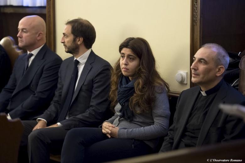 (R to L) Spanish Monsignor Angel Lucio Vallejo Balda, Italian laywoman Francesca Chaouqui and journalists Emiliano Fittipaldi and Gianluigi Nuzzi attend a trial at the Vatican November 24, 2015. REUTERS/Osservatore Romano