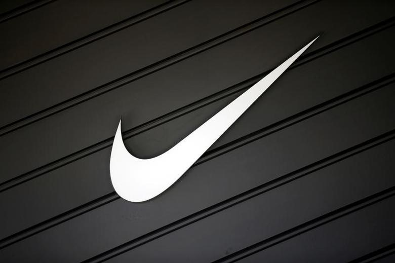 The logo of Dow Jones Industrial Average stock market index listed company Nike (NKE) is seen in Los Angeles, California, United States, April 12, 2016. REUTERS/Lucy Nicholson/File Photo