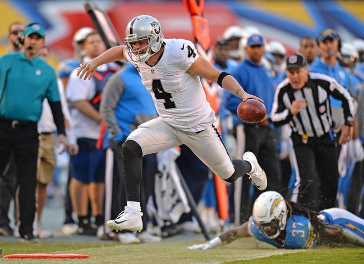 Dec 18 2016 San Diego CA USA Oakland Raiders Quarterback Derek Carr 4 Reaches Forward With The Ball For First Down On A Run After Getting By