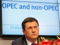 El ministro de Energía ruso, Alexander Novak, en una conferencia de prensa tras una reunión de la OPEP en Viena, Austria. 10 de diciembre 2016.La confianza entre los países productores es clave si apuntamos al éxito del acuerdo para reducir el bombeo de petróleo, dijo el miércoles el ministro de Energía ruso, Alexander Novak. REUTERS/Heinz-Peter Bader
