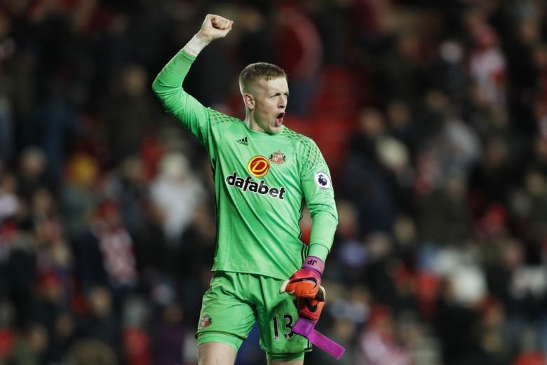 Britain Football Soccer - Sunderland v Watford - Premier League - Stadium of Light - 17/12/16 Sunderland's Jordan Pickford celebrates after the game Action Images via Reuters / Lee Smith Livepic
