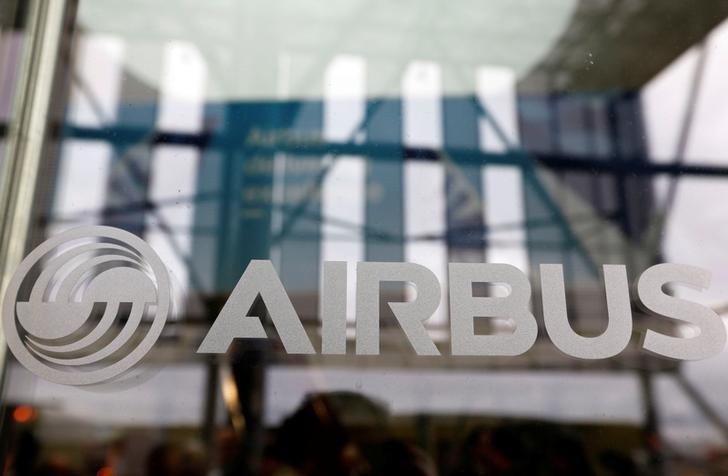 The logo of Airbus is pictured during the Airbus A350-1000 maiden flight event in Colomiers near Toulouse, Southwestern France, November 24, 2016.  REUTERS/Regis Duvignau